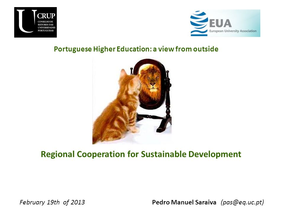 Regional Cooperation for Sustainable Development Pedro Manuel SaraivaFebruary 19th of 2013(pas@eq.uc.pt) Portuguese Higher Education: a view from outs