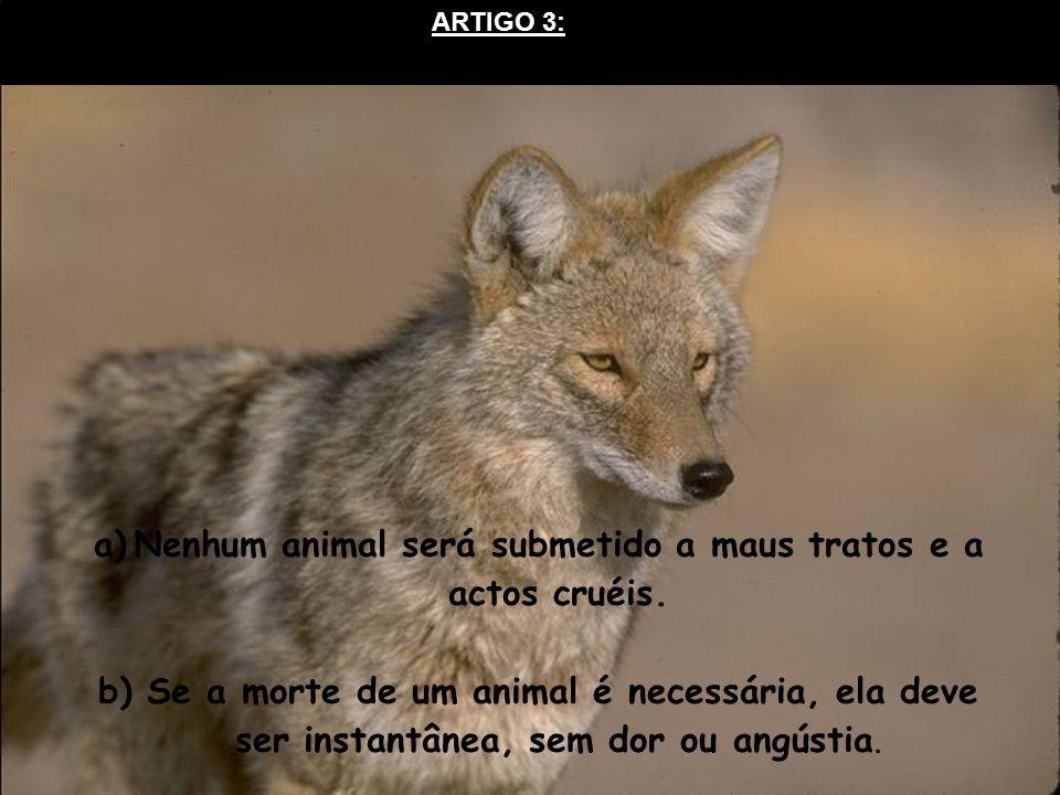 ARTIGO 3: a)Nenhum animal será submetido a maus tratos e a actos cruéis. b) Se a morte de um animal é necessária, ela deve ser instantânea, sem dor ou
