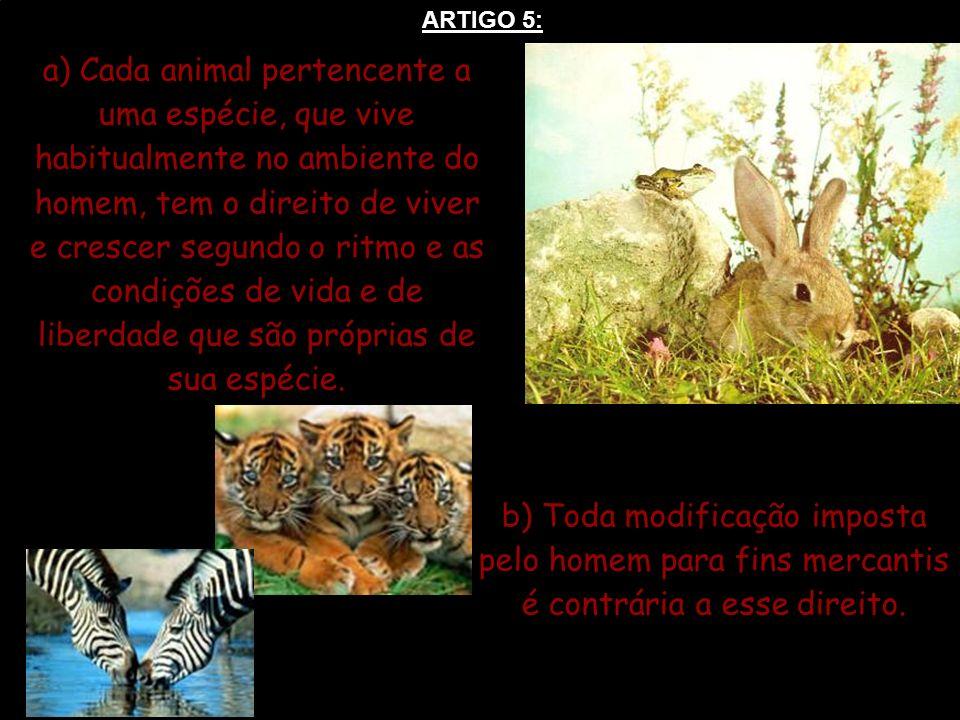 ARTIGO 5: a) Cada animal pertencente a uma espécie, que vive habitualmente no ambiente do homem, tem o direito de viver e crescer segundo o ritmo e as