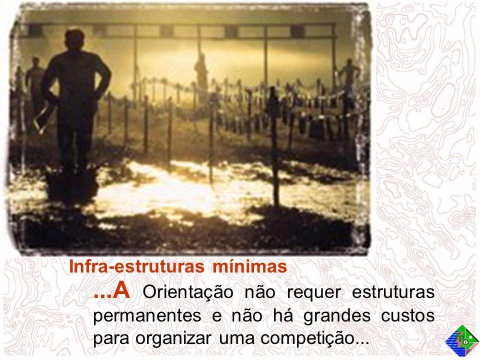 Infra-estruturas mínimas...A Orientação não requer estruturas permanentes e não há grandes custos para organizar uma competição...