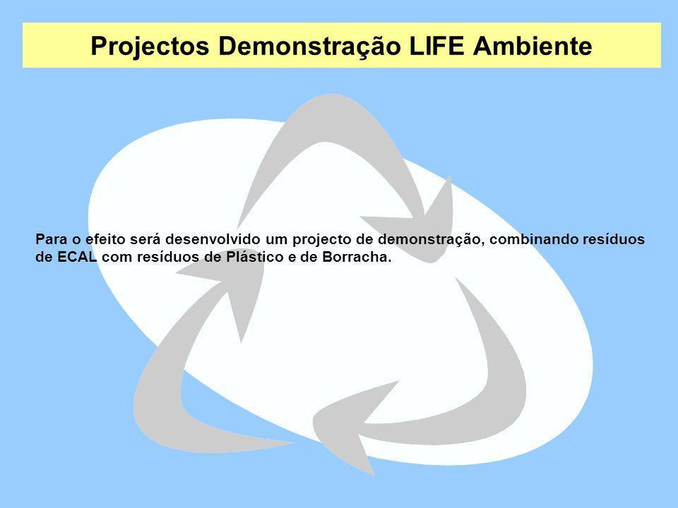 Projectos Demonstração LIFE Ambiente Para o efeito será desenvolvido um projecto de demonstração, combinando resíduos de ECAL com resíduos de Plástico
