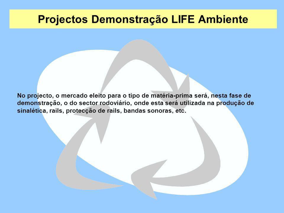 Projectos Demonstração LIFE Ambiente No projecto, o mercado eleito para o tipo de matéria-prima será, nesta fase de demonstração, o do sector rodoviár