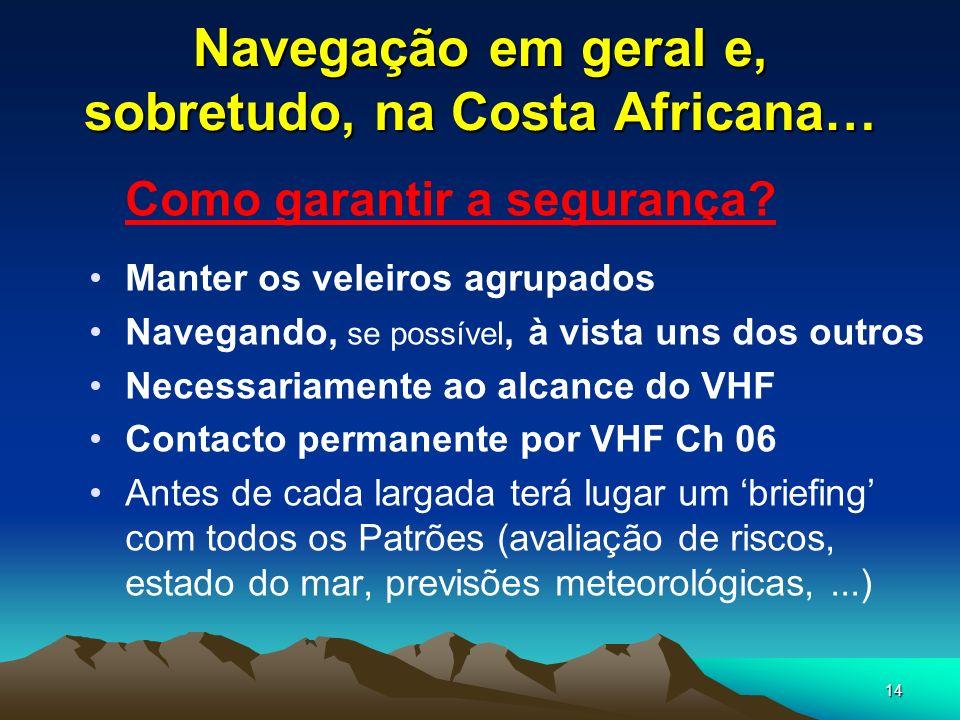 14 Navegação em geral e, sobretudo, na Costa Africana… Como garantir a segurança? Manter os veleiros agrupados Navegando, se possível, à vista uns dos