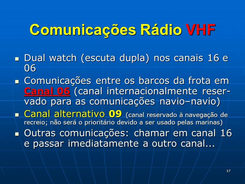 17 Comunicações Rádio VHF Dual watch (escuta dupla) nos canais 16 e 06 Dual watch (escuta dupla) nos canais 16 e 06 Comunicações entre os barcos da fr