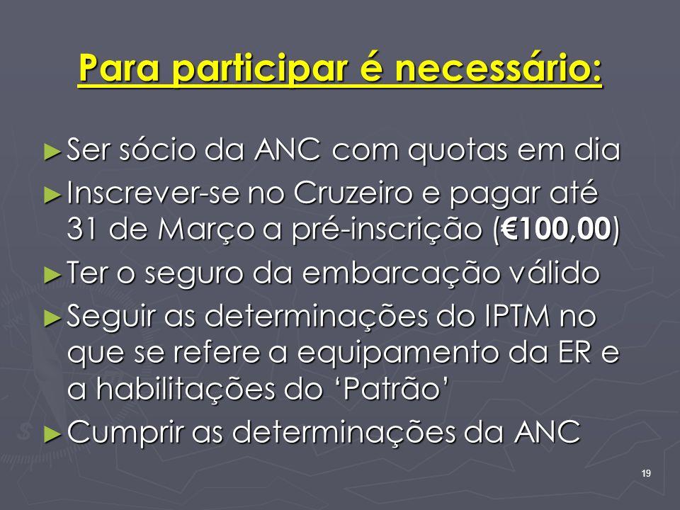 19 Para participar é necessário: Ser sócio da ANC com quotas em dia Ser sócio da ANC com quotas em dia Inscrever-se no Cruzeiro e pagar até 31 de Març