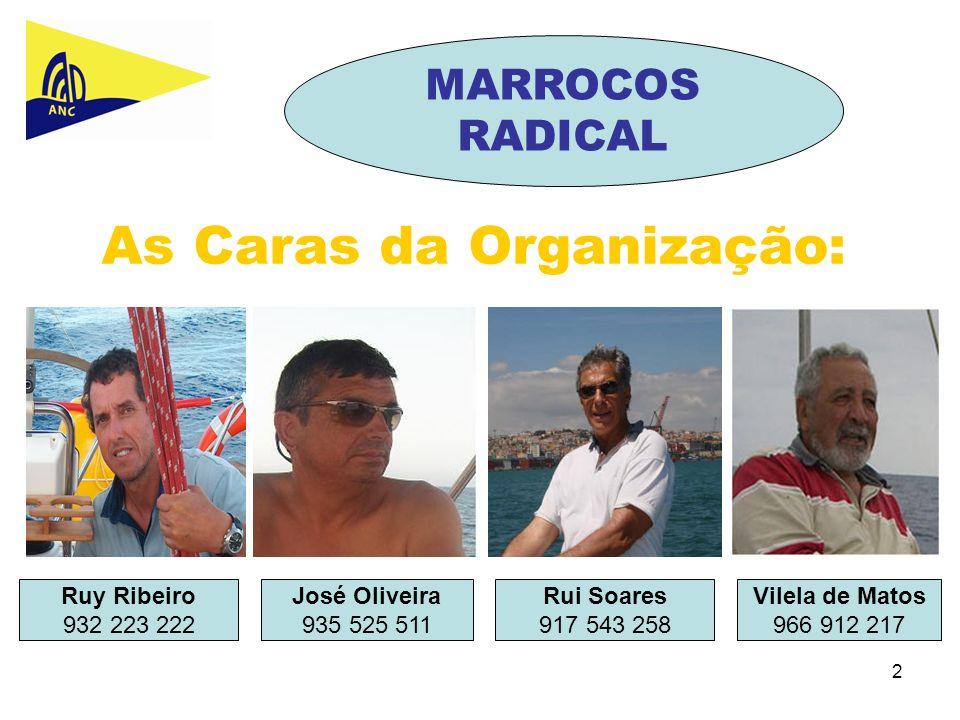 2 As Caras da Organização: Ruy Ribeiro 932 223 222 José Oliveira 935 525 511 Rui Soares 917 543 258 MARROCOS RADICAL Vilela de Matos 966 912 217