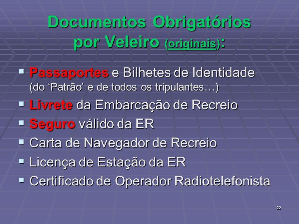 22 Documentos Obrigatórios por Veleiro (originais) : Passaportes e Bilhetes de Identidade (do Patrão e de todos os tripulantes…) Passaportes e Bilhete