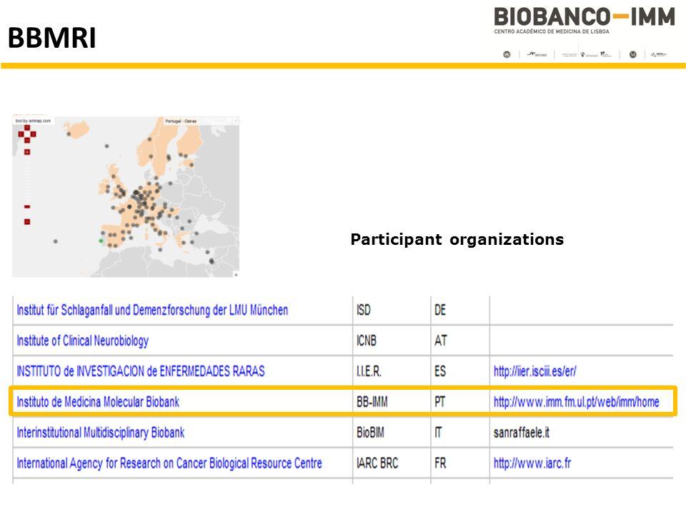 Participant organizations BBMRI