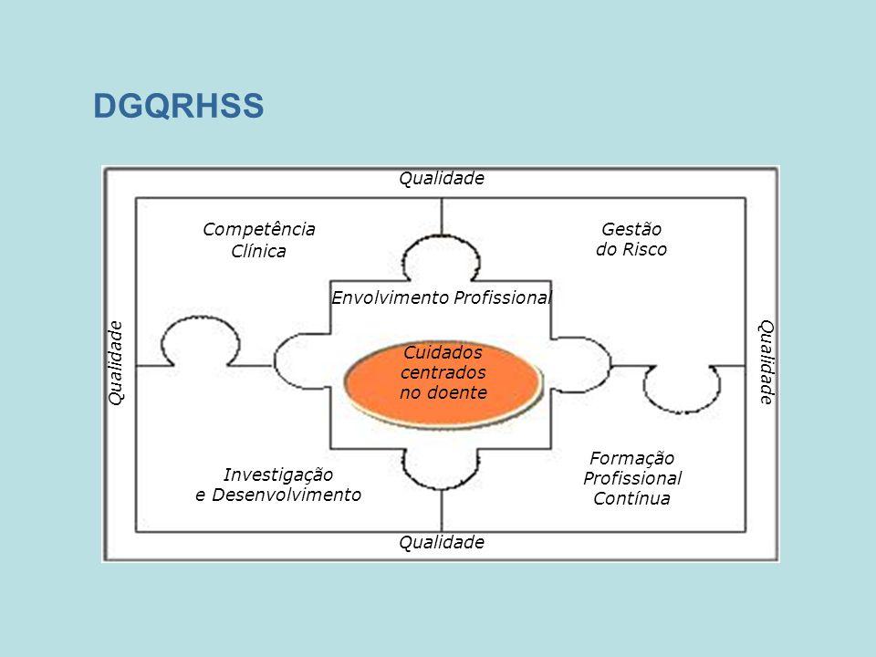DGQRHSS Qualidade Competência Clínica Envolvimento Profissional Gestão do Risco Investigação e Desenvolvimento Formação Profissional Contínua Cuidados