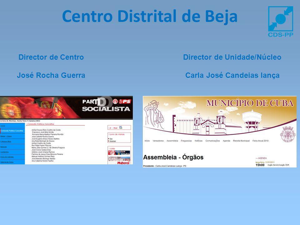 Centro Distrital de Beja Director de Centro José Rocha Guerra Director de Unidade/Núcleo Carla José Candeias lança