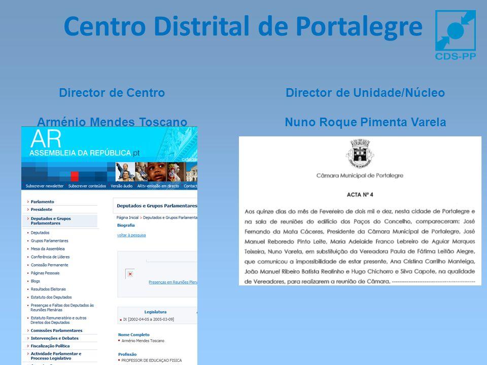 Centro Distrital de Portalegre Director de Centro Arménio Mendes Toscano Director de Unidade/Núcleo Nuno Roque Pimenta Varela