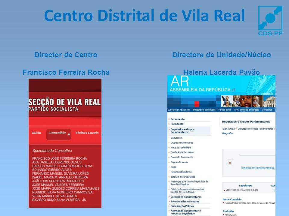Centro Distrital de Vila Real Director de Centro Francisco Ferreira Rocha Directora de Unidade/Núcleo Helena Lacerda Pavão
