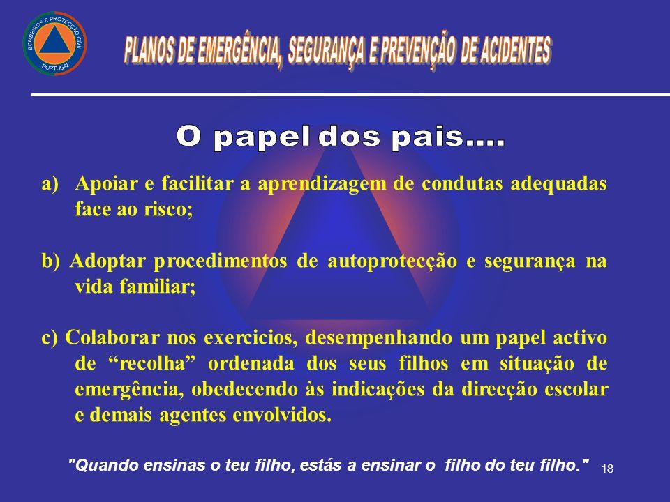 18 a) a)Apoiar e facilitar a aprendizagem de condutas adequadas face ao risco; b) Adoptar procedimentos de autoprotecção e segurança na vida familiar;