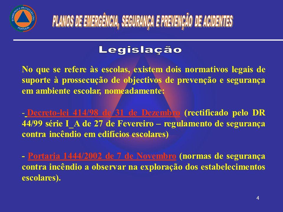 5 A legislação portuguesa define como entidade licenciadora, a Câmara Municipal (Decreto-Lei 555/99 de 16 de Dezembro com alterações do DL 177/01 de 4 de Junho) e como entidade fiscalizadora de segurança, o Serviço Nacional de Bombeiros e Protecção Civil (Portaria 1444/02 de 7 de Novembro), quer em termos de pareceres prévios, quer em termos de vistorias e inspecções.