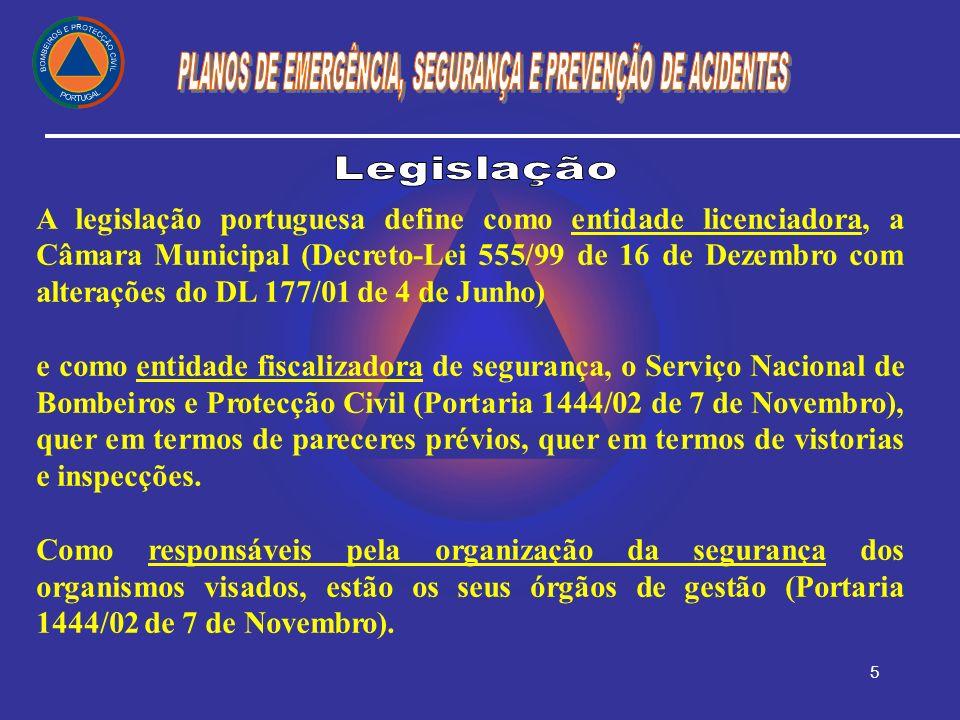 5 A legislação portuguesa define como entidade licenciadora, a Câmara Municipal (Decreto-Lei 555/99 de 16 de Dezembro com alterações do DL 177/01 de 4
