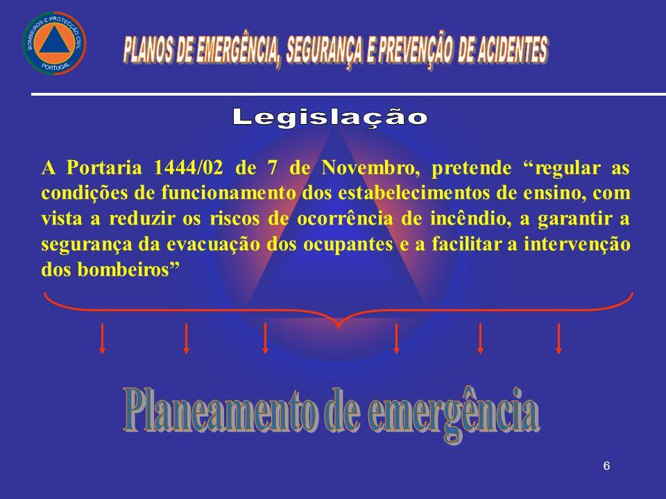 6 A Portaria 1444/02 de 7 de Novembro, pretende regular as condições de funcionamento dos estabelecimentos de ensino, com vista a reduzir os riscos de