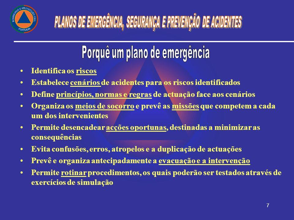 7 Identifica os riscos Estabelece cenários de acidentes para os riscos identificados Define princípios, normas e regras de actuação face aos cenários