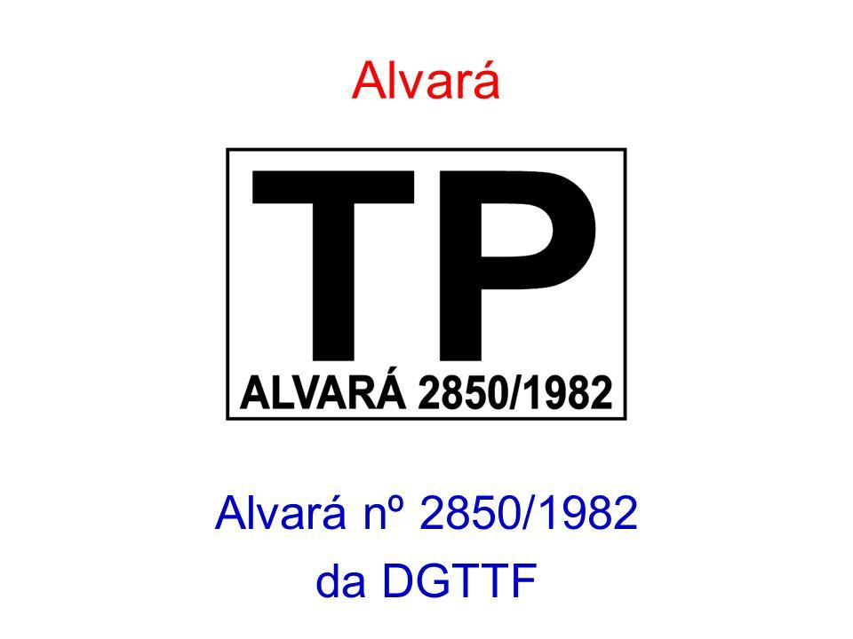 Alvará Alvará nº 2850/1982 da DGTTF