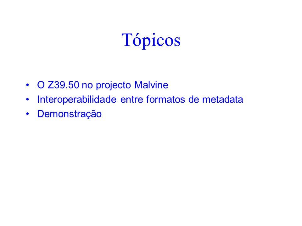 Tópicos O Z39.50 no projecto Malvine Interoperabilidade entre formatos de metadata Demonstração