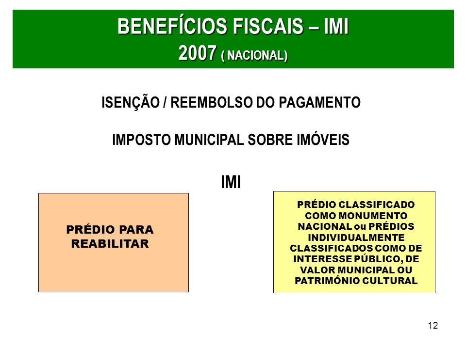 12 BENEFÍCIOS FISCAIS – IMI 2007 ( NACIONAL) PRÉDIO PARA REABILITAR PRÉDIO CLASSIFICADO COMO MONUMENTO NACIONAL ou PRÉDIOS INDIVIDUALMENTE CLASSIFICAD