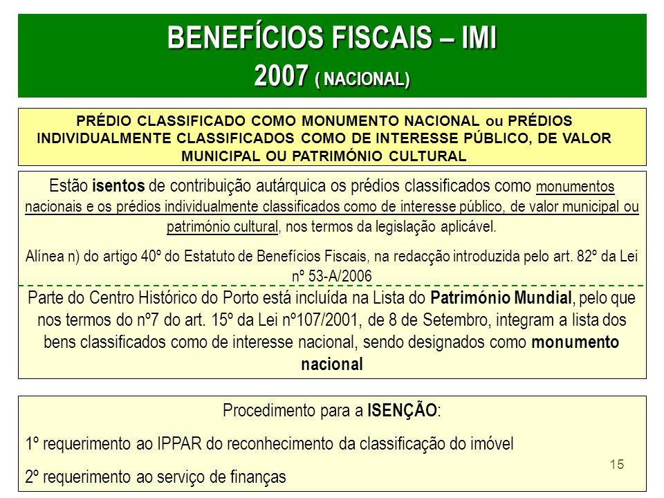 15 BENEFÍCIOS FISCAIS – IMI 2007 ( NACIONAL) PRÉDIO CLASSIFICADO COMO MONUMENTO NACIONAL ou PRÉDIOS INDIVIDUALMENTE CLASSIFICADOS COMO DE INTERESSE PÚ