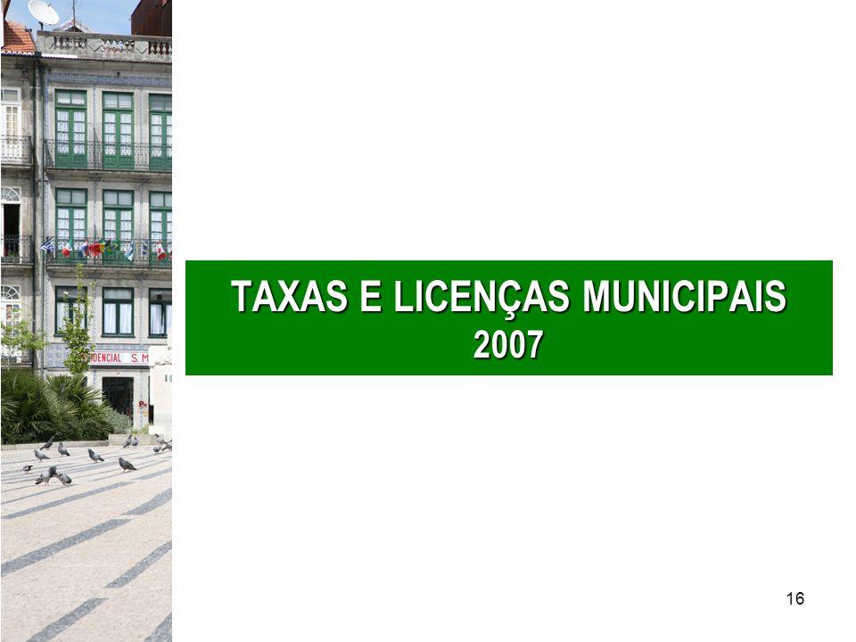 16 TAXAS E LICENÇAS MUNICIPAIS 2007