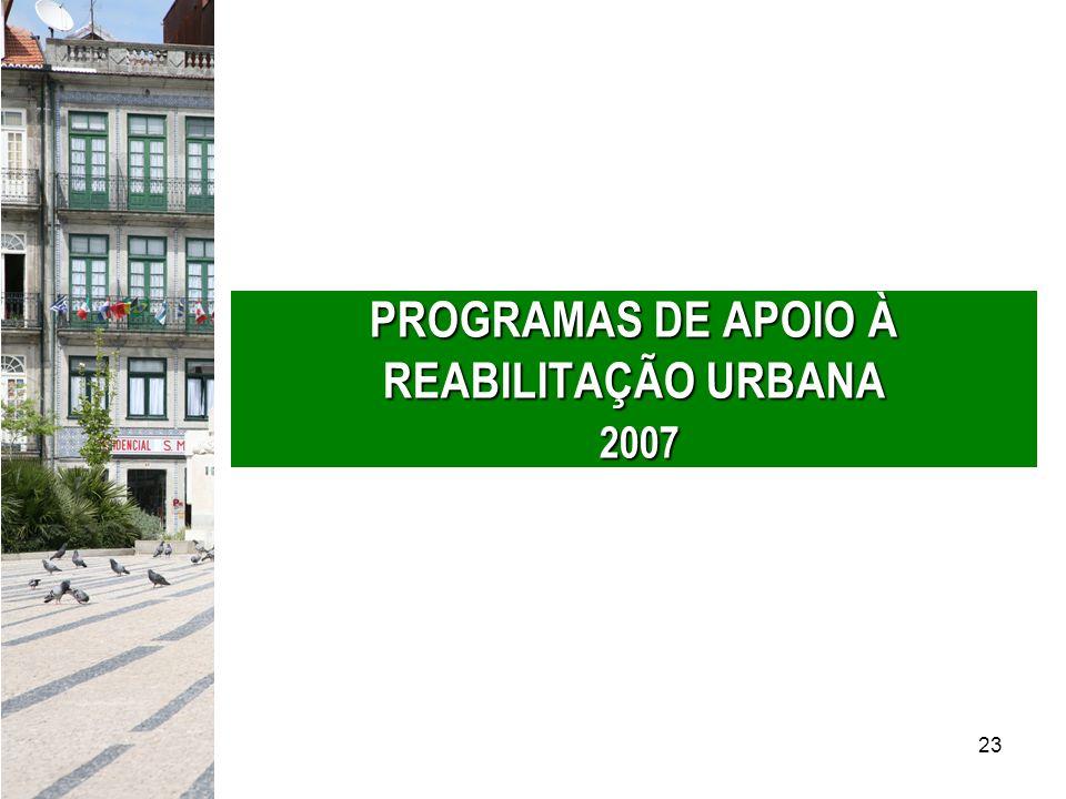 23 PROGRAMAS DE APOIO À REABILITAÇÃO URBANA 2007
