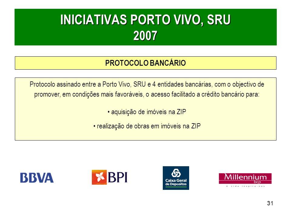 31 Protocolo assinado entre a Porto Vivo, SRU e 4 entidades bancárias, com o objectivo de promover, em condições mais favoráveis, o acesso facilitado