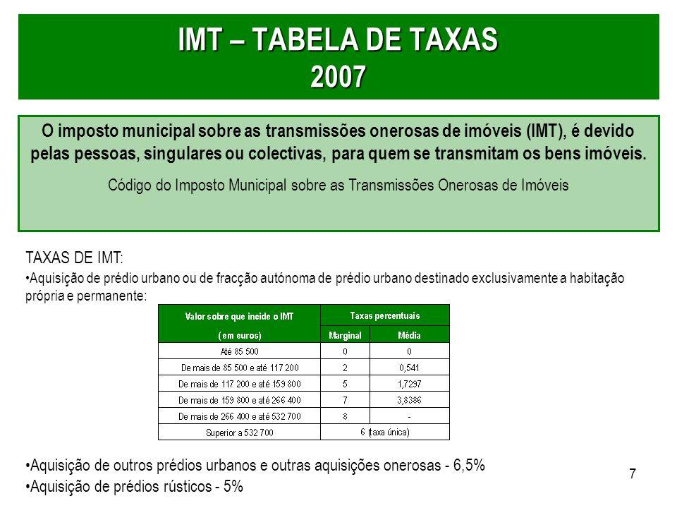 7 IMT – TABELA DE TAXAS 2007 O imposto municipal sobre as transmissões onerosas de imóveis (IMT), é devido pelas pessoas, singulares ou colectivas, pa