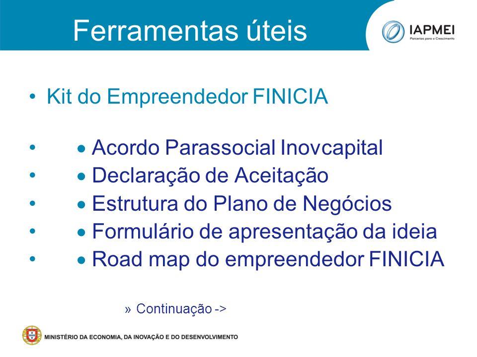 Kit do Empreendedor FINICIA Acordo Parassocial Inovcapital Declaração de Aceitação Estrutura do Plano de Negócios Formulário de apresentação da ideia