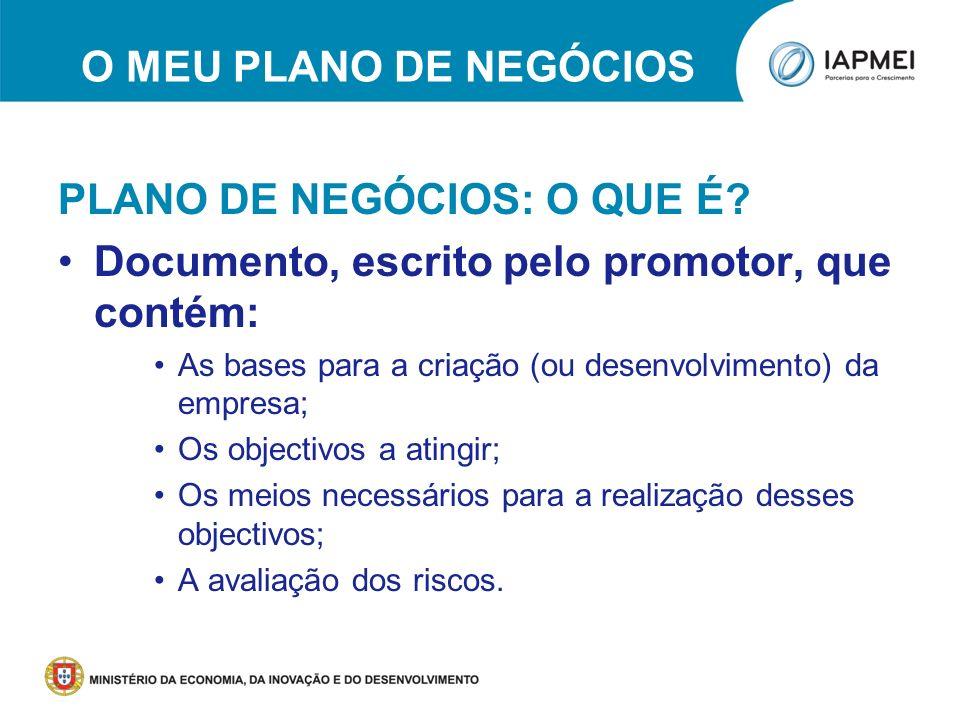 O MEU PLANO DE NEGÓCIOS PLANO DE NEGÓCIOS: O QUE É? Documento, escrito pelo promotor, que contém: As bases para a criação (ou desenvolvimento) da empr