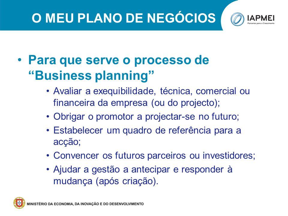 O MEU PLANO DE NEGÓCIOS Para que serve o processo de Business planning Avaliar a exequibilidade, técnica, comercial ou financeira da empresa (ou do pr