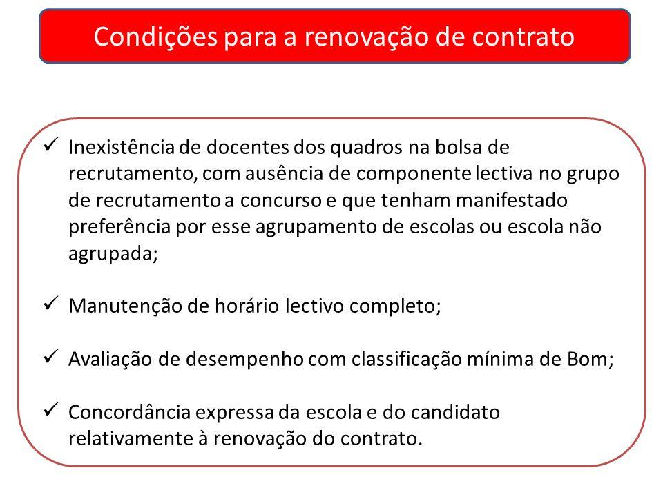 Condições para a renovação de contrato Inexistência de docentes dos quadros na bolsa de recrutamento, com ausência de componente lectiva no grupo de r