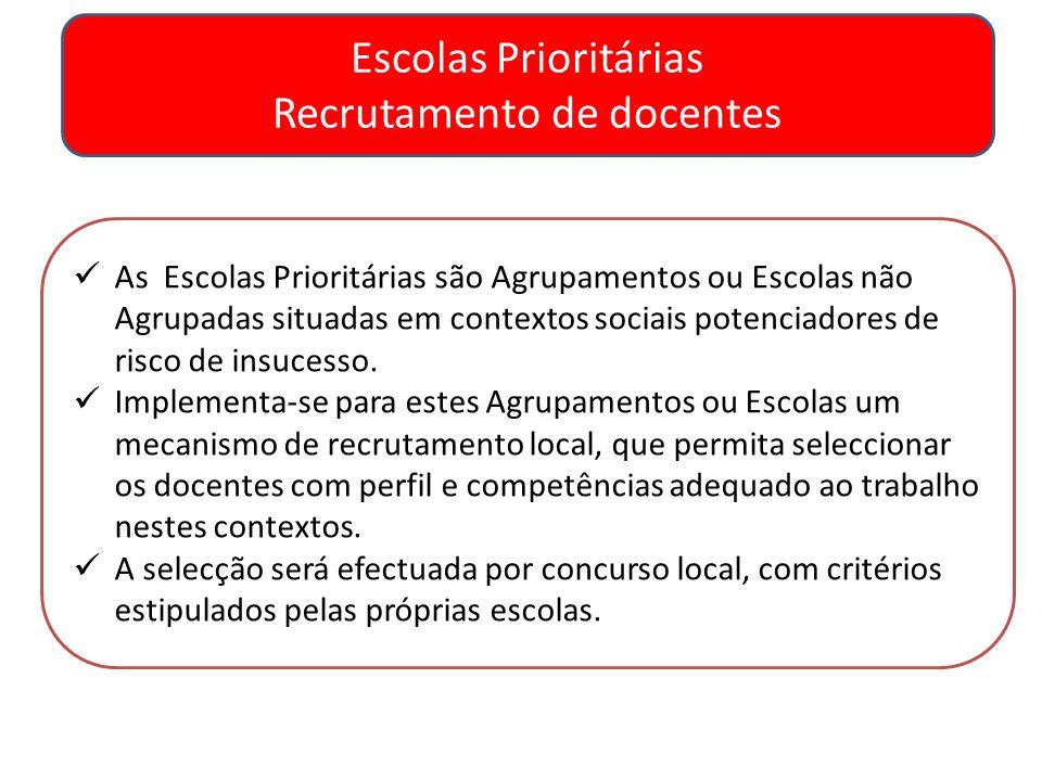 Escolas Prioritárias Recrutamento de docentes As Escolas Prioritárias são Agrupamentos ou Escolas não Agrupadas situadas em contextos sociais potencia
