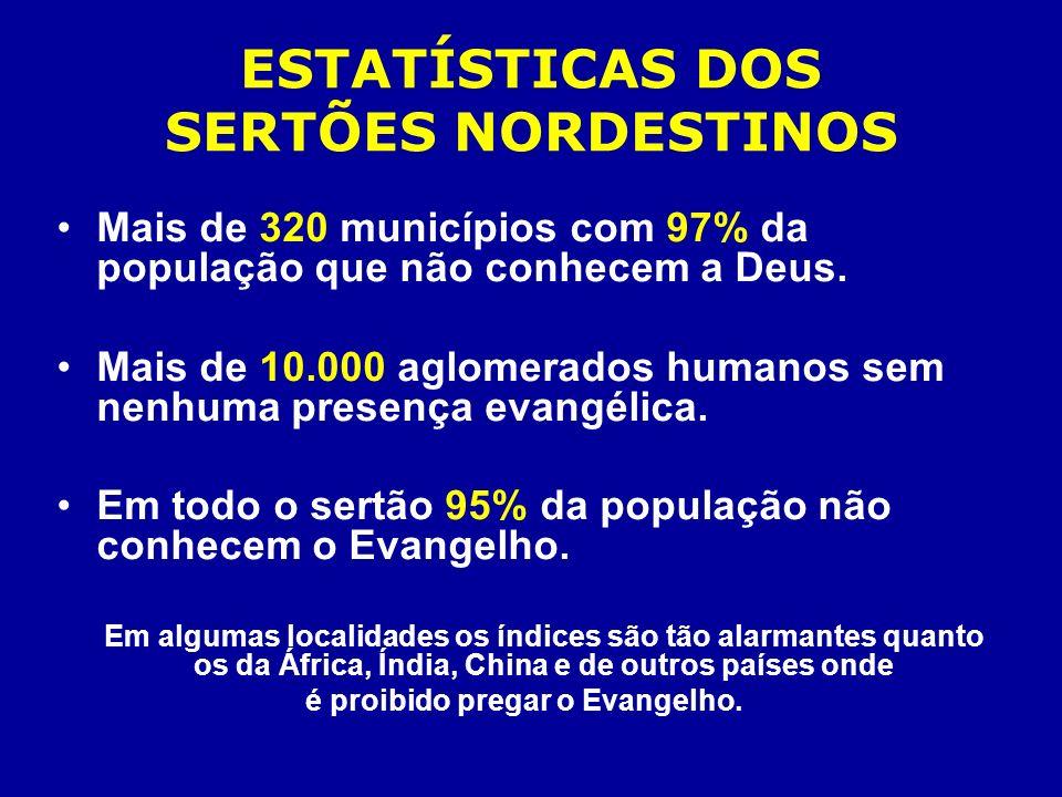 ESTATÍSTICAS DOS SERTÕES NORDESTINOS Mais de 320 municípios com 97% da população que não conhecem a Deus. Mais de 10.000 aglomerados humanos sem nenhu