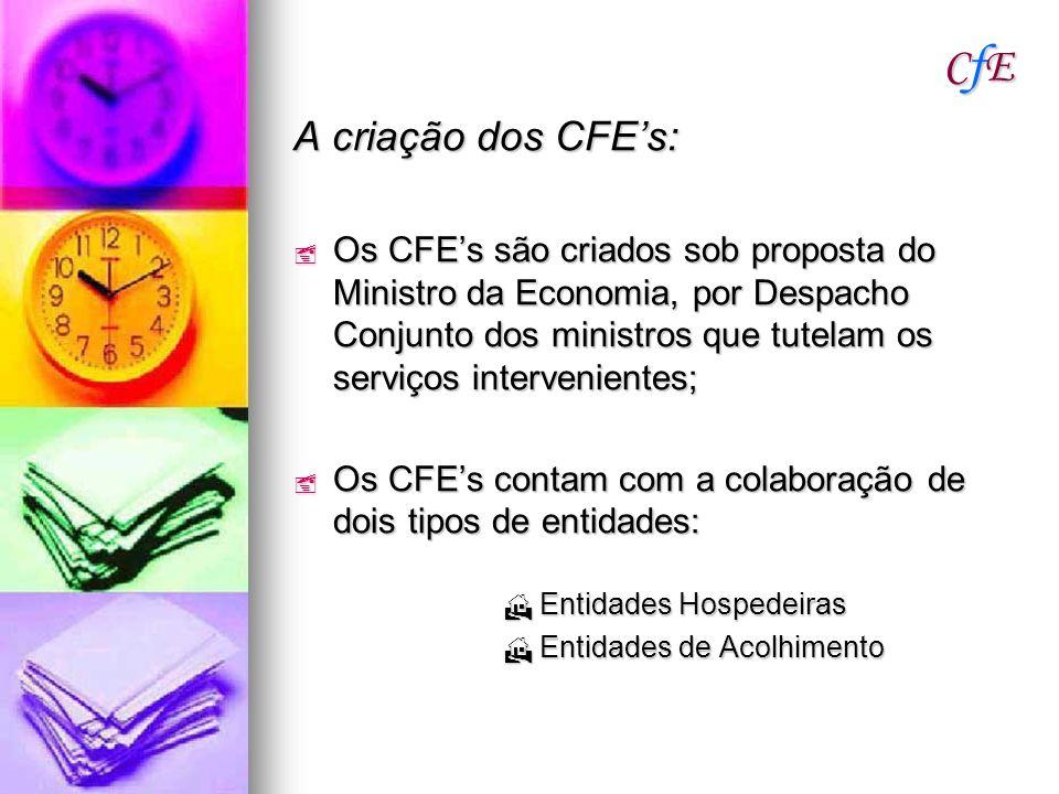 CfECfECfECfE A criação dos CFEs: Os CFEs são criados sob proposta do Ministro da Economia, por Despacho Conjunto dos ministros que tutelam os serviços