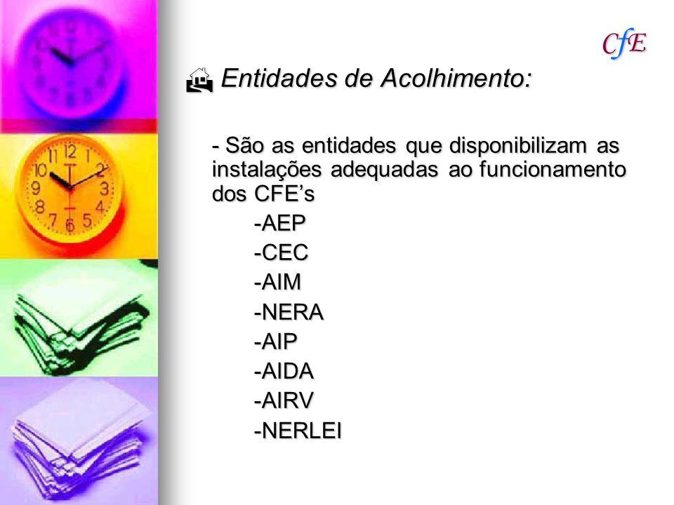 CfECfECfECfE Entidades de Acolhimento: Entidades de Acolhimento: - São as entidades que disponibilizam as instalações adequadas ao funcionamento dos C