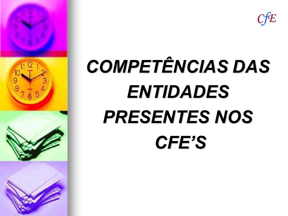 CfECfECfECfE COMPETÊNCIAS DAS ENTIDADES PRESENTES NOS CFES CFES