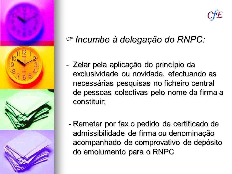 CfECfECfECfE Incumbe à delegação do RNPC: Incumbe à delegação do RNPC: - Zelar pela aplicação do princípio da exclusividade ou novidade, efectuando as