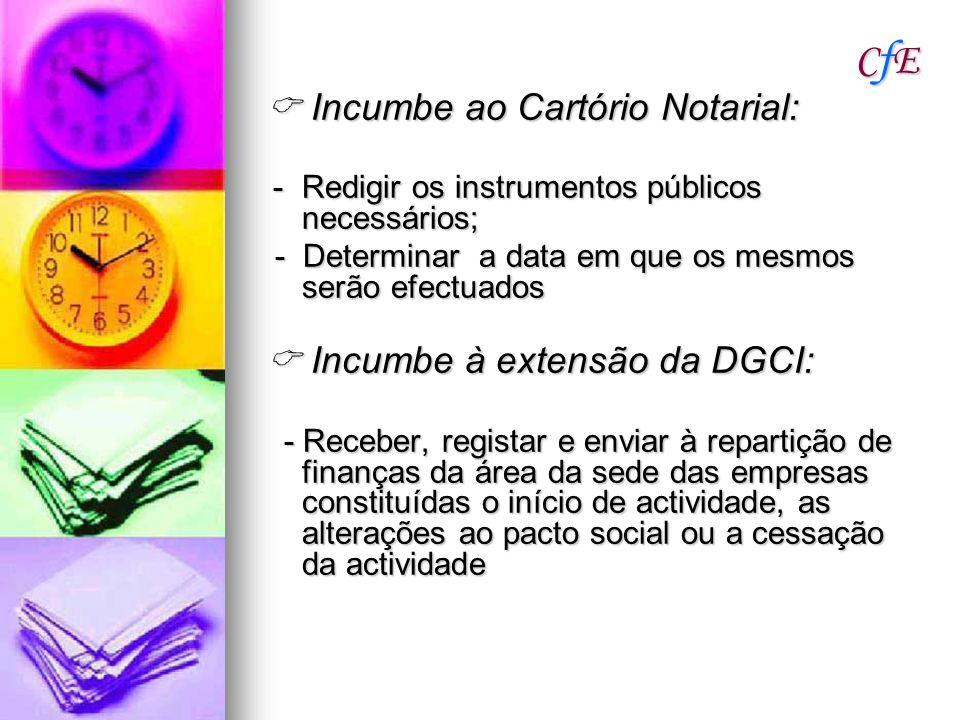 CfECfECfECfE Incumbe ao Cartório Notarial: Incumbe ao Cartório Notarial: -Redigir os instrumentos públicos necessários; -Redigir os instrumentos públi