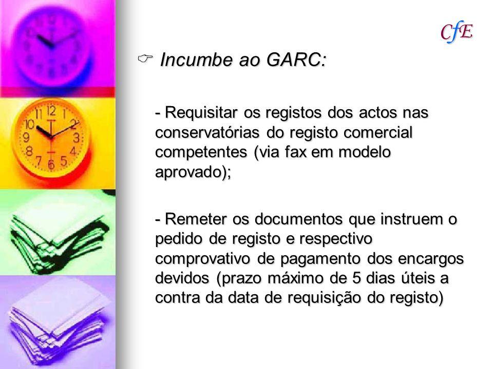 CfECfECfECfE Incumbe ao GARC: Incumbe ao GARC: - Requisitar os registos dos actos nas conservatórias do registo comercial competentes (via fax em mode