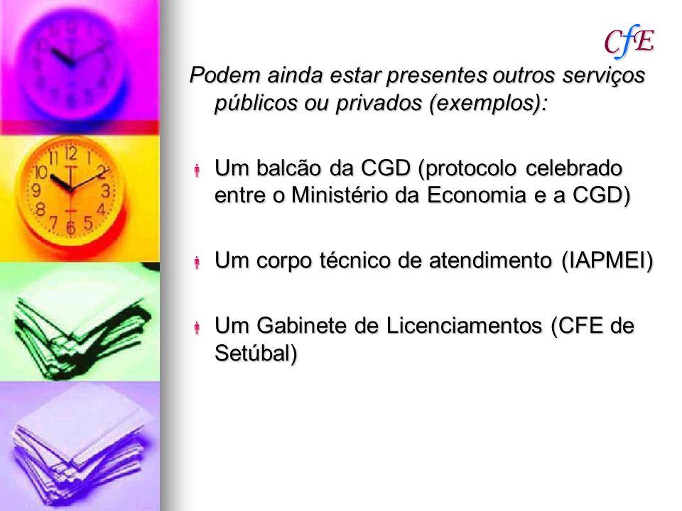 CfECfECfECfE Podem ainda estar presentes outros serviços públicos ou privados (exemplos): Um balcão da CGD (protocolo celebrado entre o Ministério da