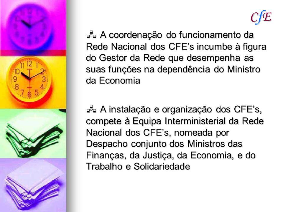 CfECfECfECfE A coordenação do funcionamento da Rede Nacional dos CFEs incumbe à figura do Gestor da Rede que desempenha as suas funções na dependência