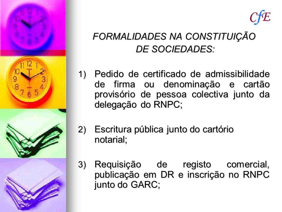 CfECfECfECfE FORMALIDADES NA CONSTITUIÇÃO DE SOCIEDADES: DE SOCIEDADES: 1) Pedido de certificado de admissibilidade de firma ou denominação e cartão p