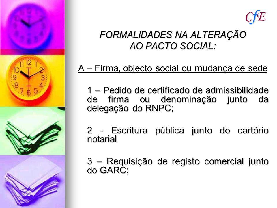 CfECfECfECfE FORMALIDADES NA ALTERAÇÃO AO PACTO SOCIAL: A – Firma, objecto social ou mudança de sede 1 – Pedido de certificado de admissibilidade de f