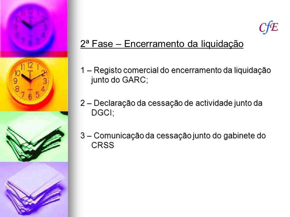 CfECfECfECfE 2ª Fase – Encerramento da liquidação 1 – Registo comercial do encerramento da liquidação junto do GARC; 2 – Declaração da cessação de act