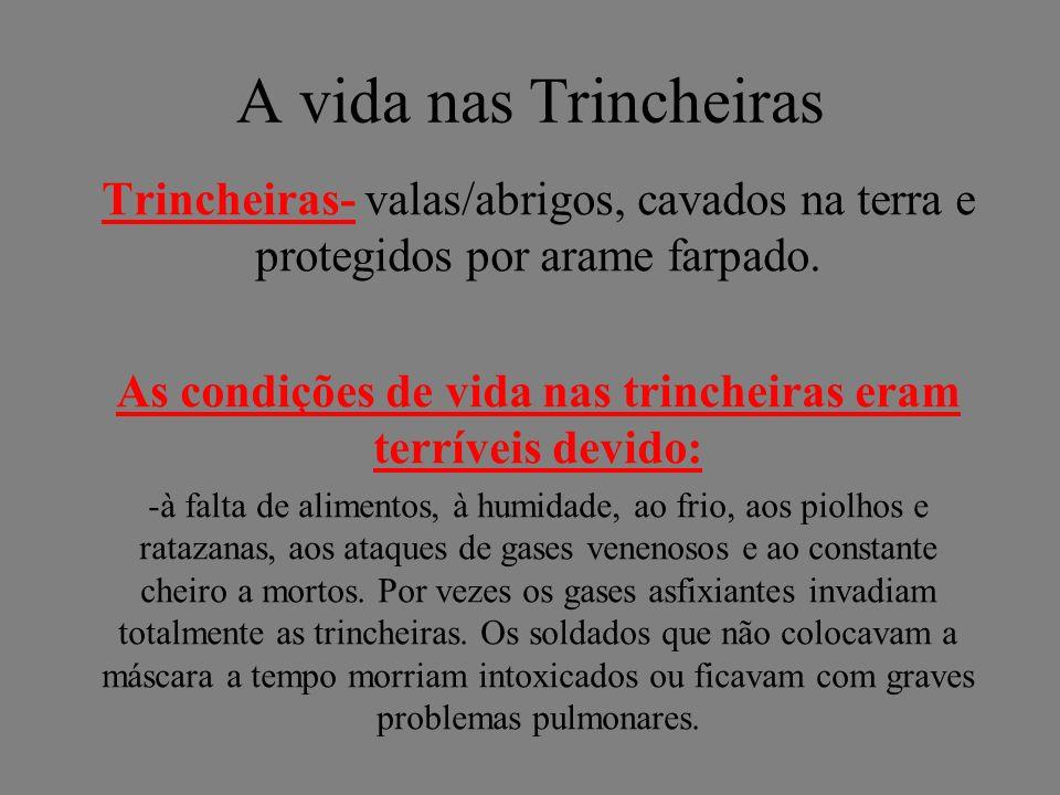 A vida nas Trincheiras Trincheiras- valas/abrigos, cavados na terra e protegidos por arame farpado. As condições de vida nas trincheiras eram terrívei