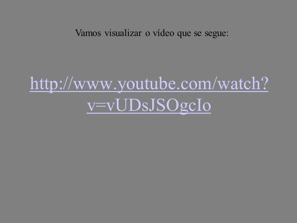 http://www.youtube.com/watch? v=vUDsJSOgcIo Vamos visualizar o vídeo que se segue: