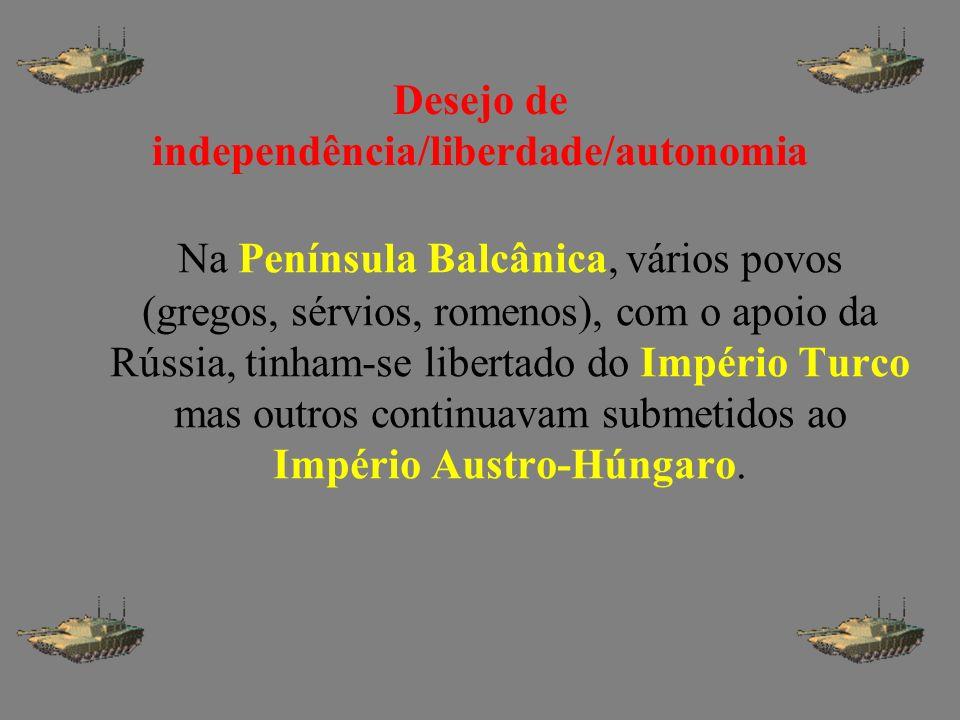 Desejo de independência/liberdade/autonomia Na Península Balcânica, vários povos (gregos, sérvios, romenos), com o apoio da Rússia, tinham-se libertad