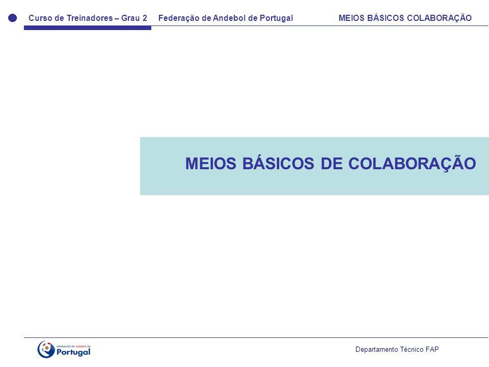 Curso de Treinadores – Grau 2 Federação de Andebol de Portugal MEIOS BÁSICOS COLABORAÇÃO Departamento Técnico FAP MEIOS BÁSICOS DE COLABORAÇÃO